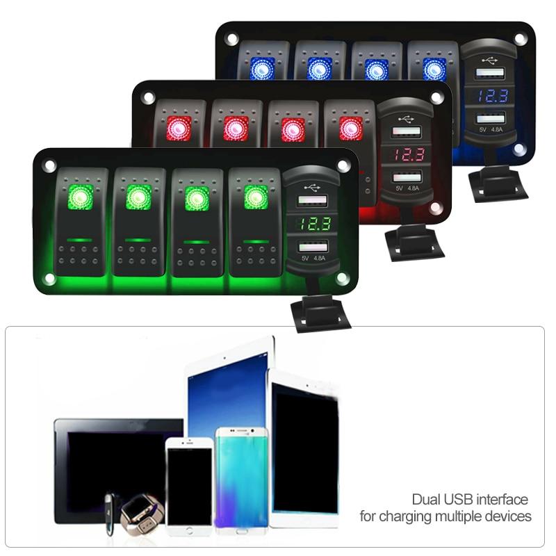 5 кнопочный тумблер клавишный светодиодный переключатель панель + стикер цифровой вольтметр двойной USB порт 12 В выходная комбинация водонеп...
