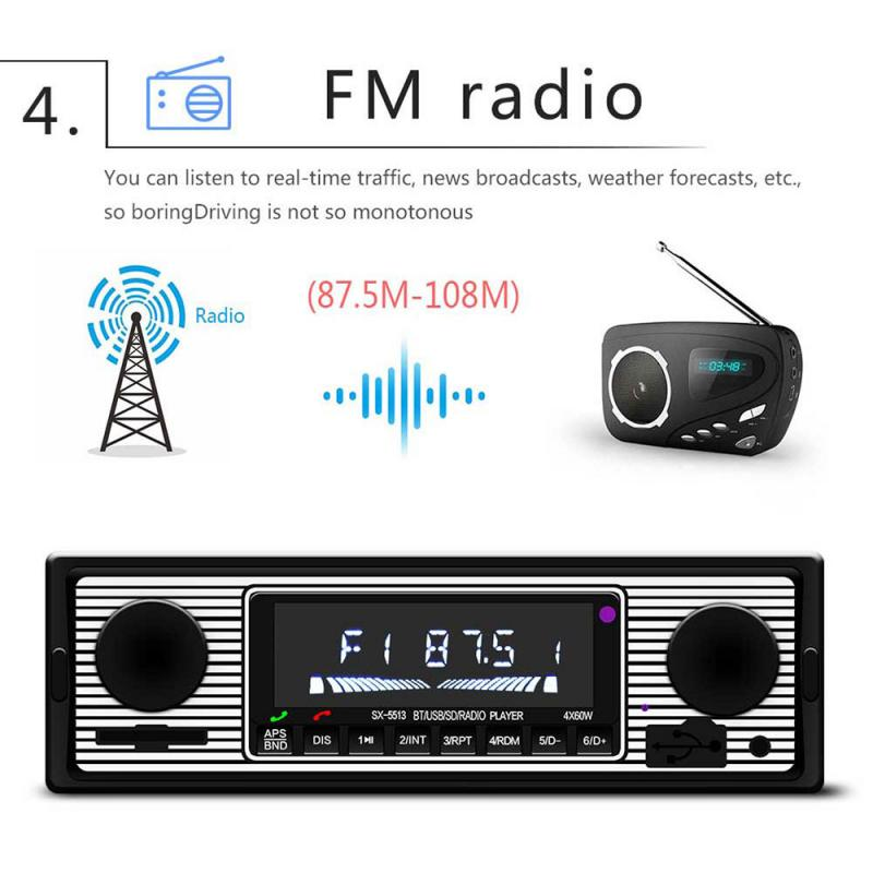 US Vintage Car Bluetooth Radio MP3 Player Stereo USB/AUX Classic Stereo Audio FM Autoradio Auto Radio Player Multimedia Player