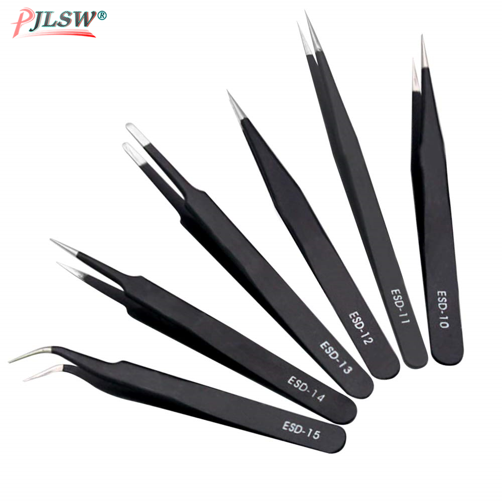 6Pcs Anti-static ESD Stainless Steel Tweezers Maintenance Tools Industrial Precision Curved Straight Tweezers Repair Tools 2019