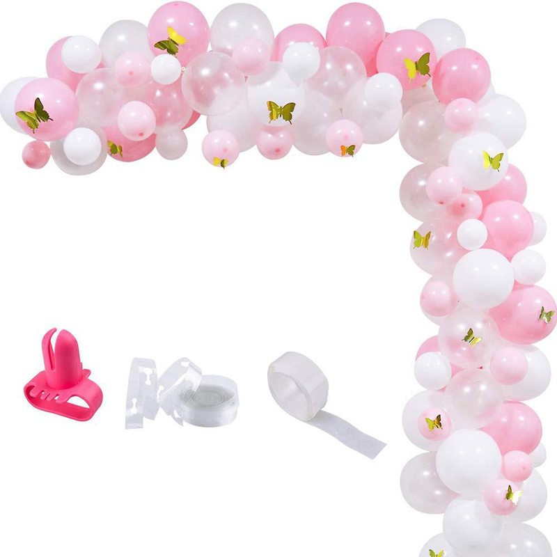 100pcs Birthday Party Baby Shower Wedding Anniversary Celebration Balloons Decoration White Pink Garland Arch Kit Butterfly