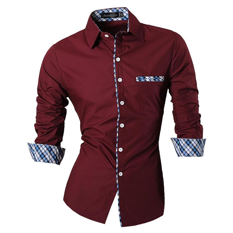 Jeansian Men's Casual Dress Shirts Fashion Desinger Stylish Long Sleeve Slim Fit Z020 WineRed