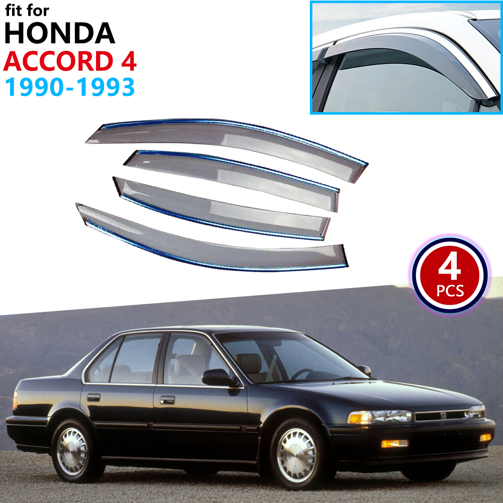 For Honda Accord 4 1990 1991 1992 1993 Window Visor Vent Awnings Rain Guard Deflector Shelters Cover Shield Side Car Accessories