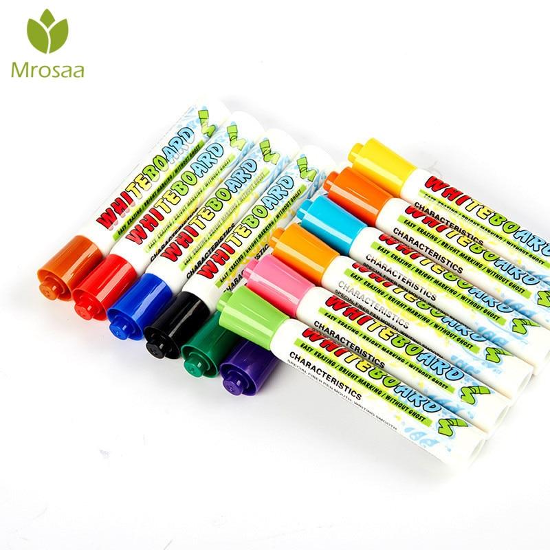 12Pcs Hot White Board Maker Pen Whiteboard Marker Liquid Chalk Erasable Glass Ceramics Maker Pen 12 Colors Office School Supply