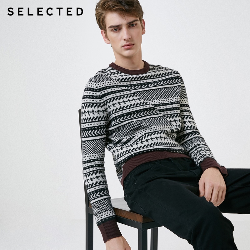 SELECTED Men's winter new merino wool woven pattern sweater S |418425526