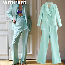 Withered england style vintage double breasted solid blazer women jackets harem flare suits