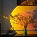 Проектор с радужным закатом, ночник, атмосферная лампа, комнатный лазерный потолочный светильник, Звездный светильник для кофе, домашний фо...