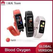 Huawei Fascia 4 Banda Intelligente di Ossigeno Nel Sangue Spo2 Globale Versione di Smart Vigilanza di Frequenza Cardiaca Monitor di Salute di Nuovo Quadranti Orologi USB SPINA carica