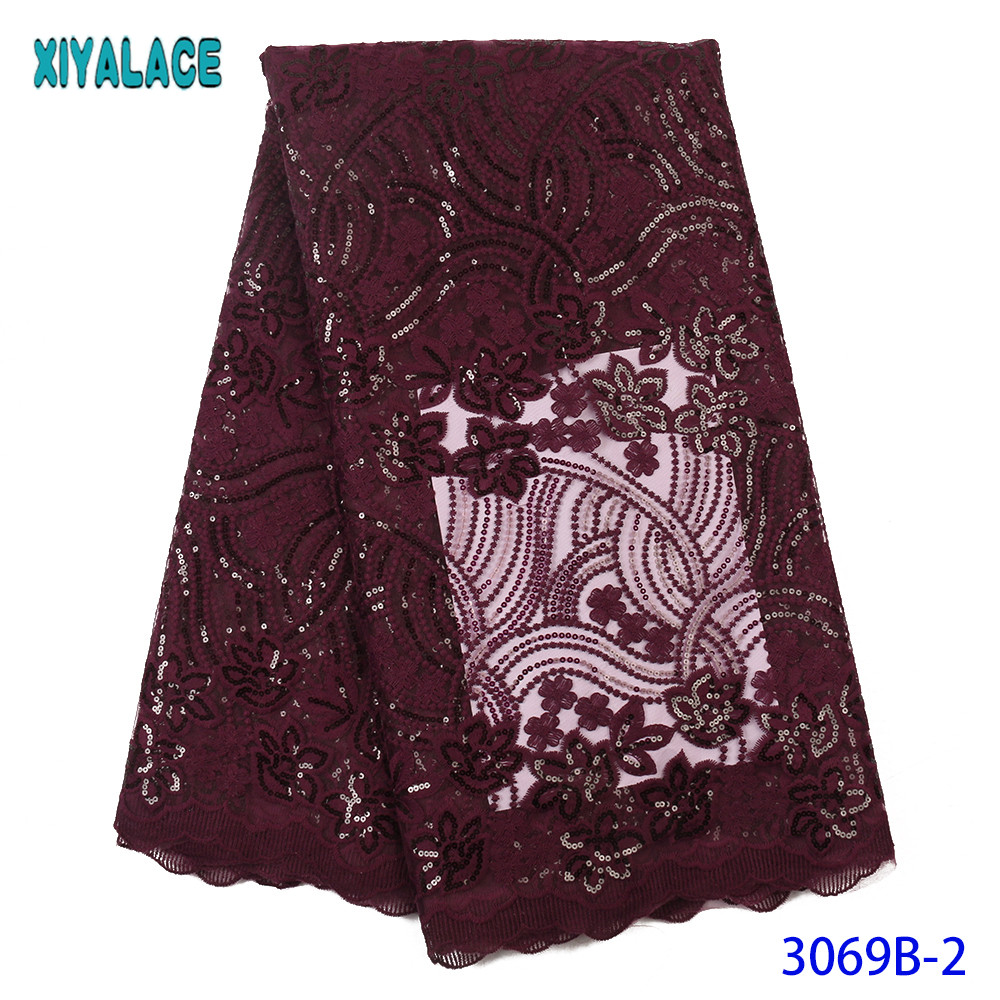 Magenta French Lace Fabric Nigerian Lace Fabric African Embroidered Tulle Lace Fabric With Sequins For Party Dresses KS3069B