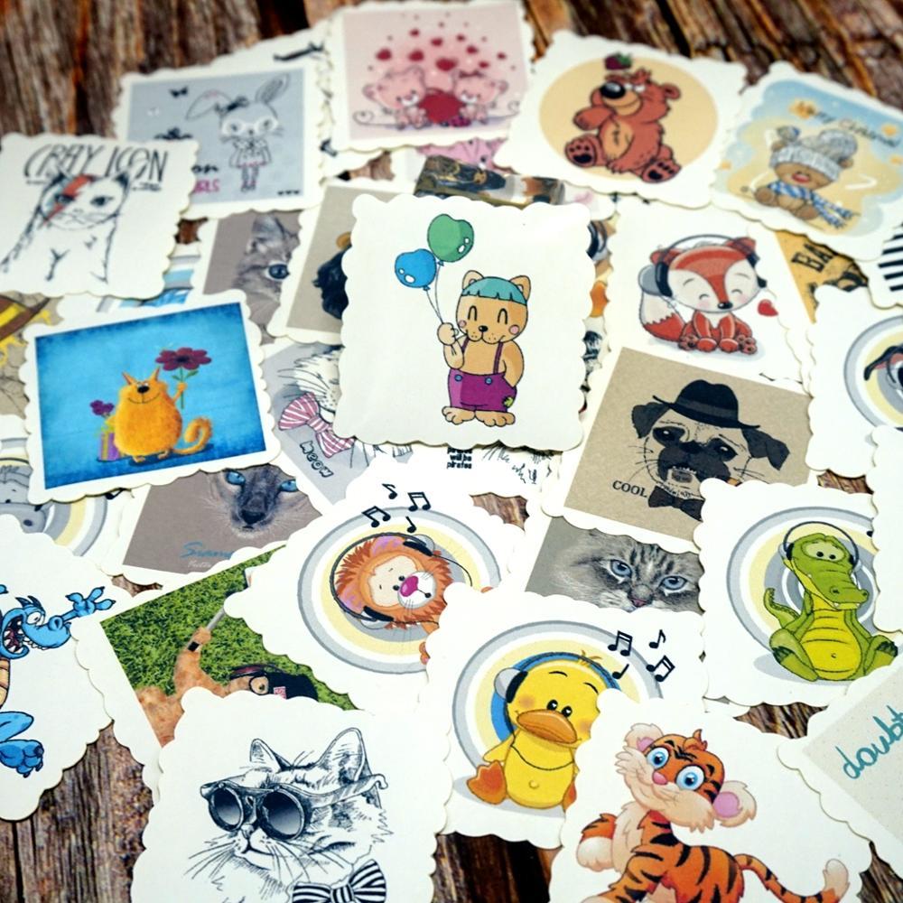 42PCS Cute Cartoon Stickers Kawaii Animals DIY Scrapbooking Diary Paper Stickers Children Kids Girls Gift Stickers Classic Toy