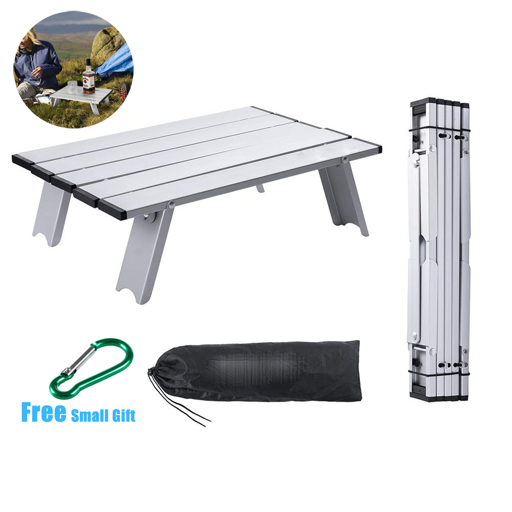 MYJ  Mini Metal Portable Camping Table Lightweight Foldable Compact Small Roll Up Tables Aluminum Folding Picnic Table Desk Read