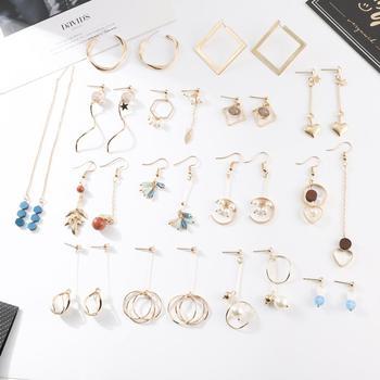 Pendientes de gota geométricos de temperamento de moda de nueva llegada pendientes colgantes de lazo de imitación de perlas para mujeres niñas fiesta regalos