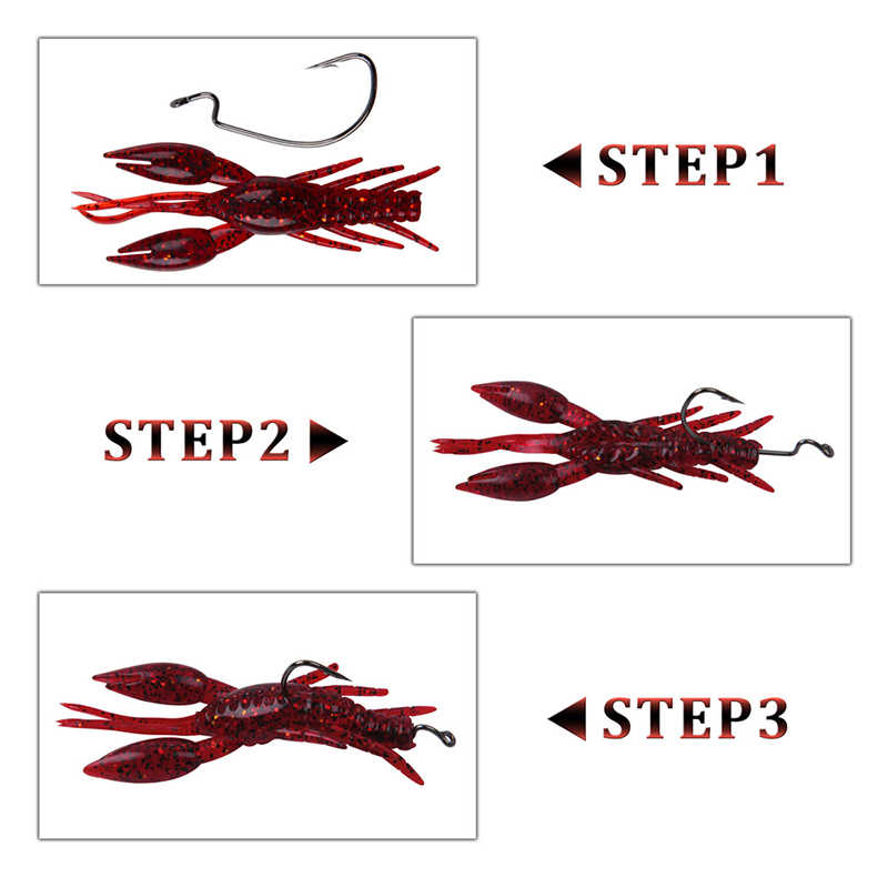 54pcs/box Soft Lobster fishing Lures jigging bait bionic crayfish Artificial Worm with jig hook for texas fishing rigs kit