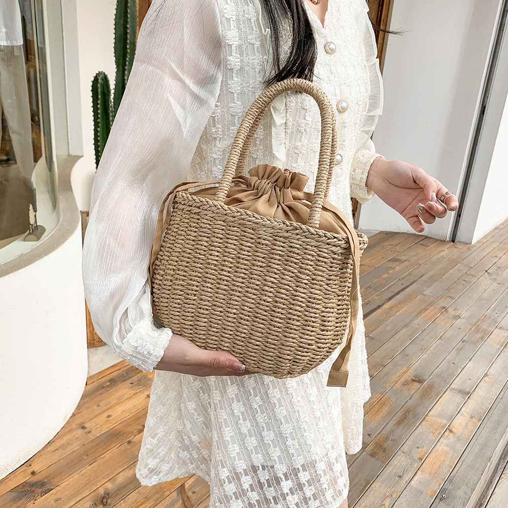 Woven Rattan Bucket Straw Bag for Summer 2021