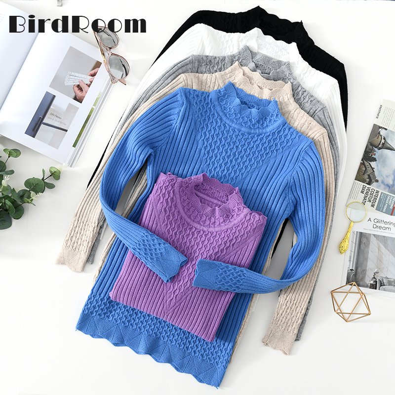 Casual Knitting Women Sweaters And Pullovers Solid Color Turtleneck Slim Ladies Knitted Sweater Winter New Chic Lace Pullover