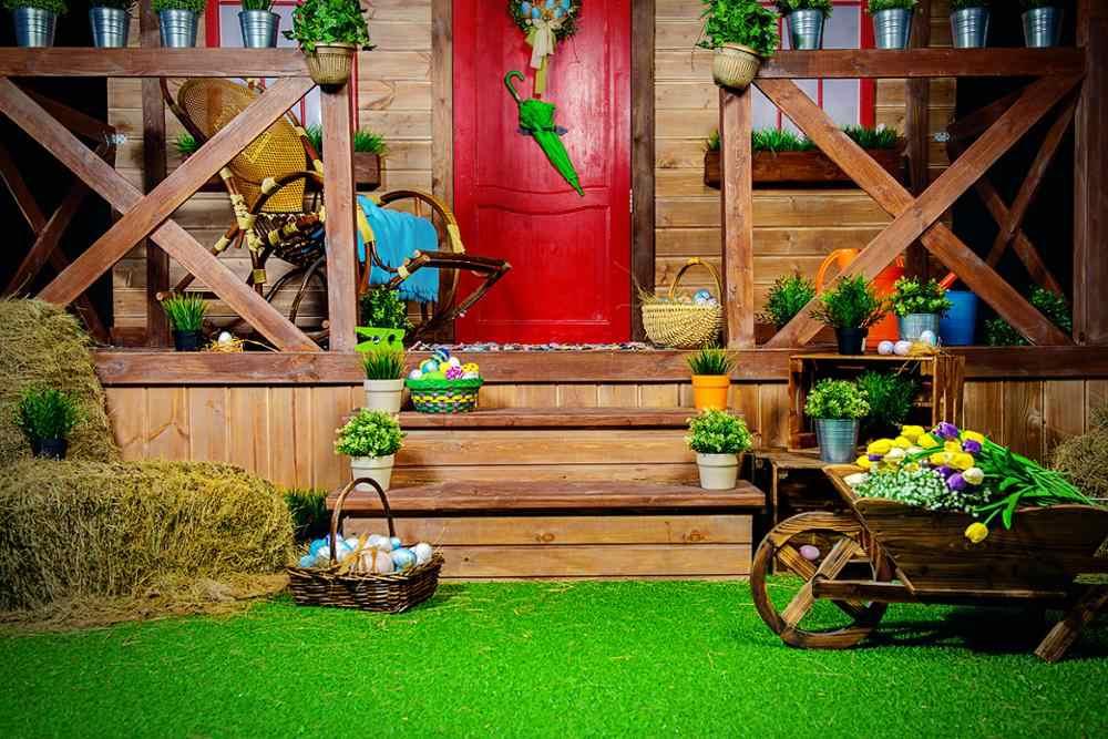 كابيسكو عيد الفصح التصوير خلفية الربيع منزل خشبي الزهور العشب خلفية الصورة استوديو photophone التصوير الدعائم تبادل لاطلاق النار