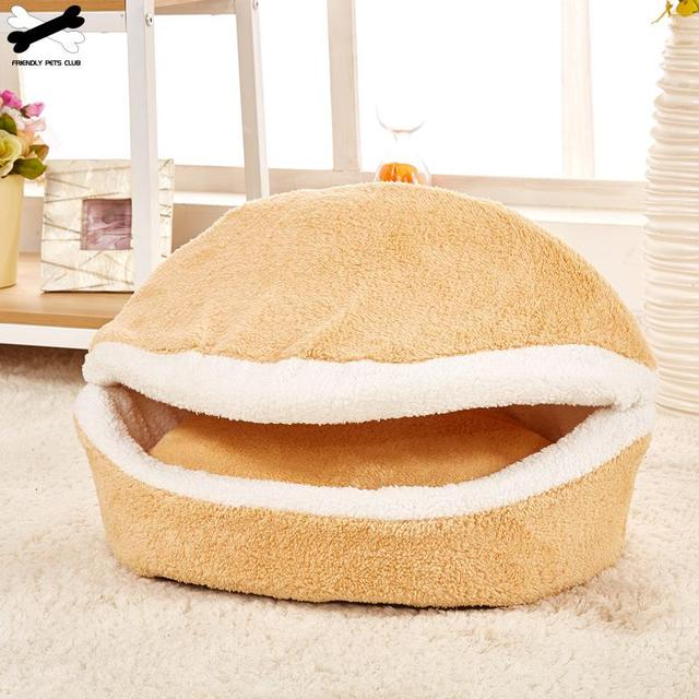 Cat Bed Sleeping Bag Sofas Mat Hamburger Dog House Short Plush Small Pet Bed Warm Puppy Kennel Nest Cushion Pet Products 1