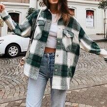 Winter Green Plaid Jacket Coat Women Streetwear Long Leeve T