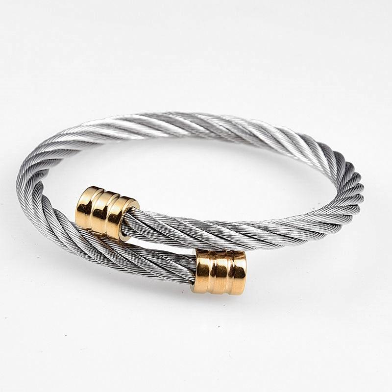 Hot Sale Classical Handmade Braiding Men Bracelet Handmade Stainless Steel Hemp Rope Buckle Open Bangles Pulseira Bileklik