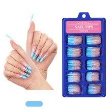 20/100Pcs płomień niebieski Gradient kolor projekt sztuczne paznokcie długie baleriny francuski pełna pokrywa sztuczne paznokcie odpinany tipsy z klejem