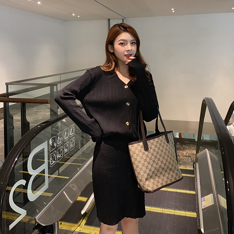 Knitting Suit Autumn 2019 Autumn New Style Korean-style Cardigan Tops + High-waisted Knitted Short Skirt Two-Piece Set F7589