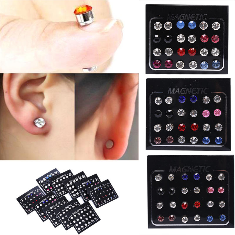 24Pcs/Set 3mm Crystal Round Ear Stud Unisex Stainless Steel Round Magnetic Non-Piercing Clip On Stud Earrings
