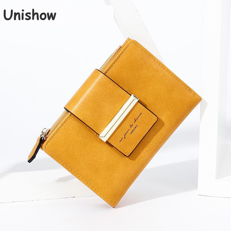 Unishow Multifuncation Wallet Women Small Female Purse Short Brand Designer Ladies Wallet Yellow Women Purse Girl Coin Pocket