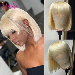 Vanlov Straight Short Bob Human Hair Wigs With Bangs For Black Women 613 Blonde Bob Brazilian Hair Wigs 100% Remy Human Hair