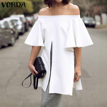 White Blouse And Tops VONDA 2020 Summer Casual Split Shirts Offce Ladie