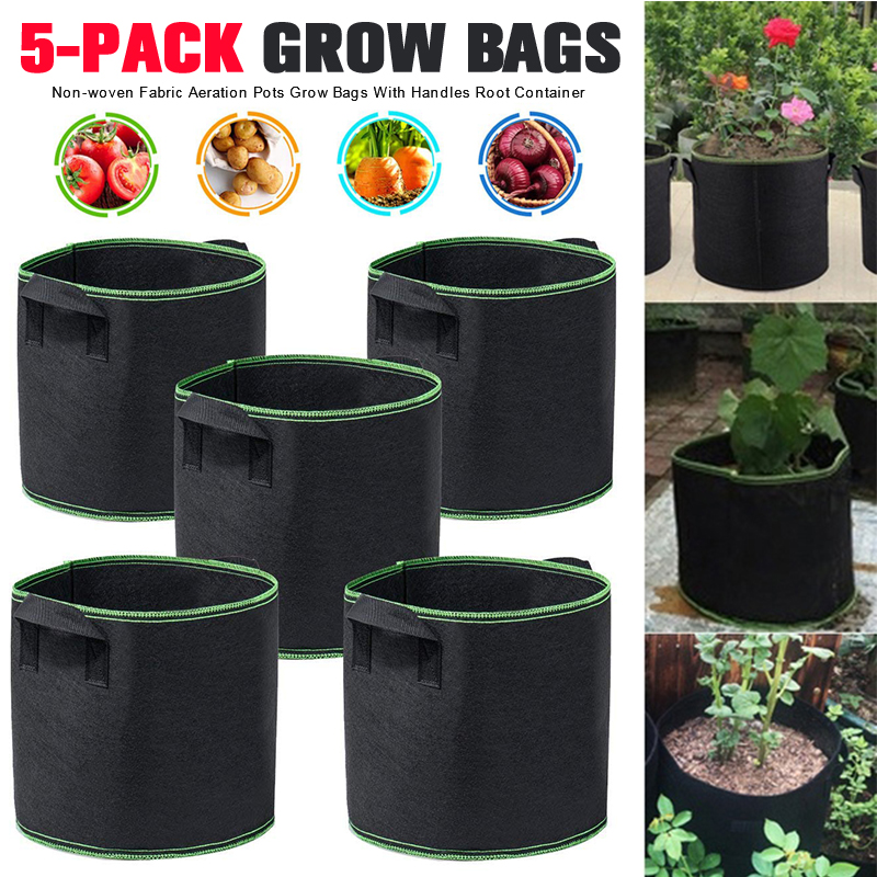 5 Packs Plant Grow Bags Growing Bags Non-woven Fabric Aeration Pots With Handles Root Container 1/2/3/5/7/10/15/20/25 Gallons image