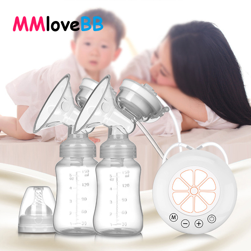 MMloveBB Electric Breast Pump Double Bottle Breast Pump USB Milk Storage Bottle Breast Milk Extractor Suction Baby Real Bubee