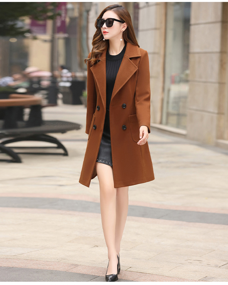 Woolen Women Jacket Coat Long Slim Blend Outerwear 2019 New Autumn Winter Wear Overcoat Female Ladies Wool Coats Jacket Clothes 3
