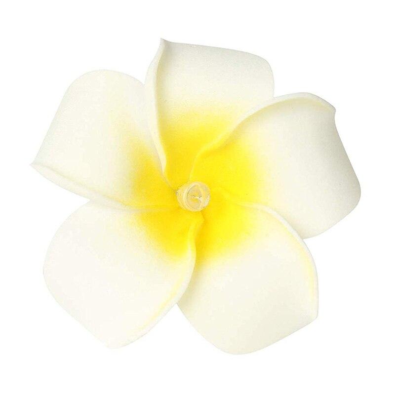 2 Sets Yellow Flowers Frangipani 20 LED String Light Hawaiian Foam Artificial Plumeria Flower Battery Powered Fairy Starry Light