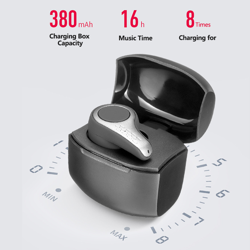 CLAITE S9 Wireless Bluetooth 5.0 Single Earphone HiFi Mini Portable Earphone Handsfree Headset Earbuds With Charging Box