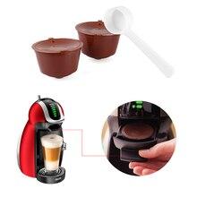 3個再利用可能なコーヒーカプセルネスカフェのためのカップフィルタードルチェグスト詰め替えキャップスプーンブラシフィルターバスケットポッドソフト味甘い