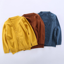 цены Boys Girls Cardigan Autumn Cotton Sweater Children Solid Color Long Sleeve  Knitted Cardigan Sweater Clothes 2-6T