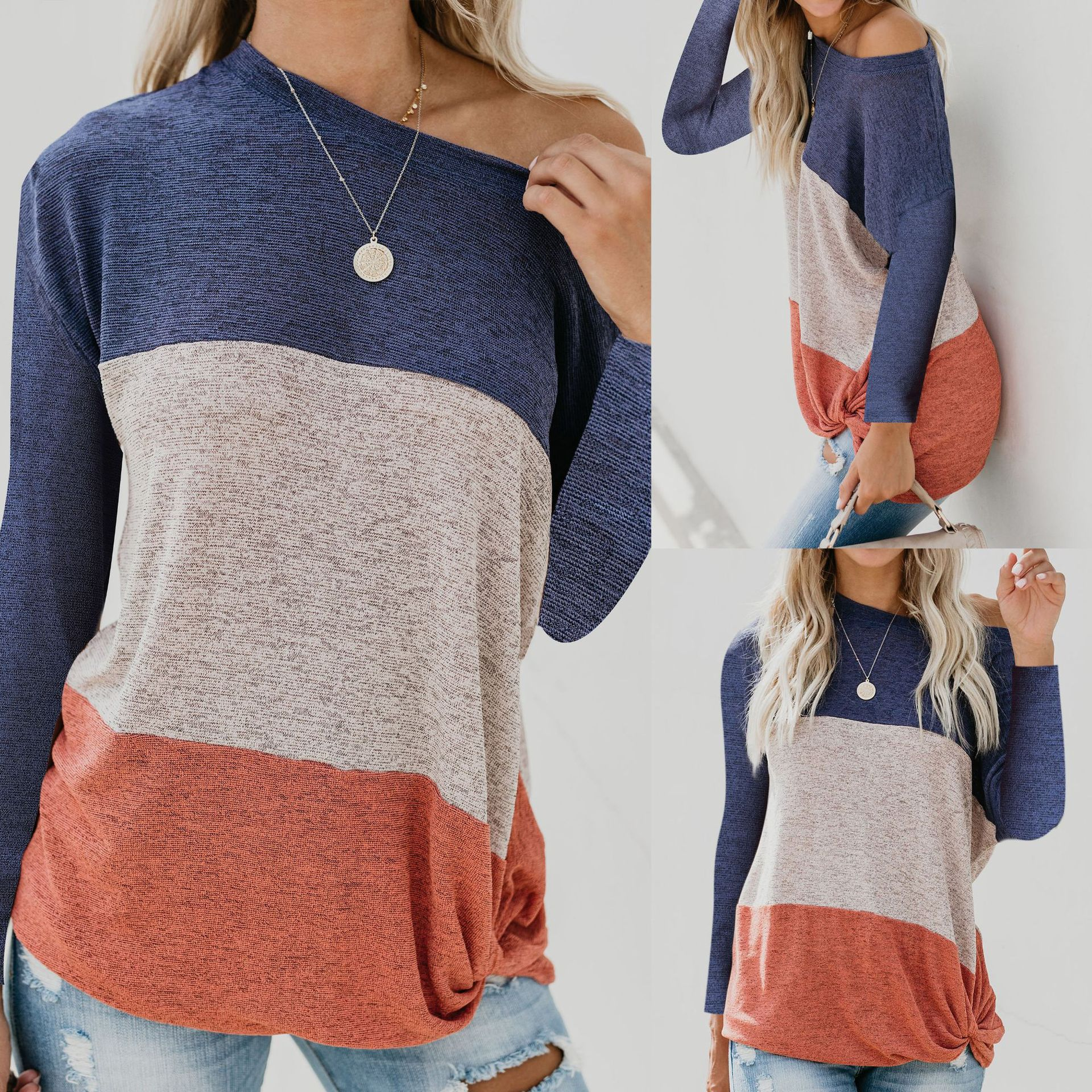2019 Casual Round Neck Striped Long Sleeve Women Tshirt Tees Tops and Shirt