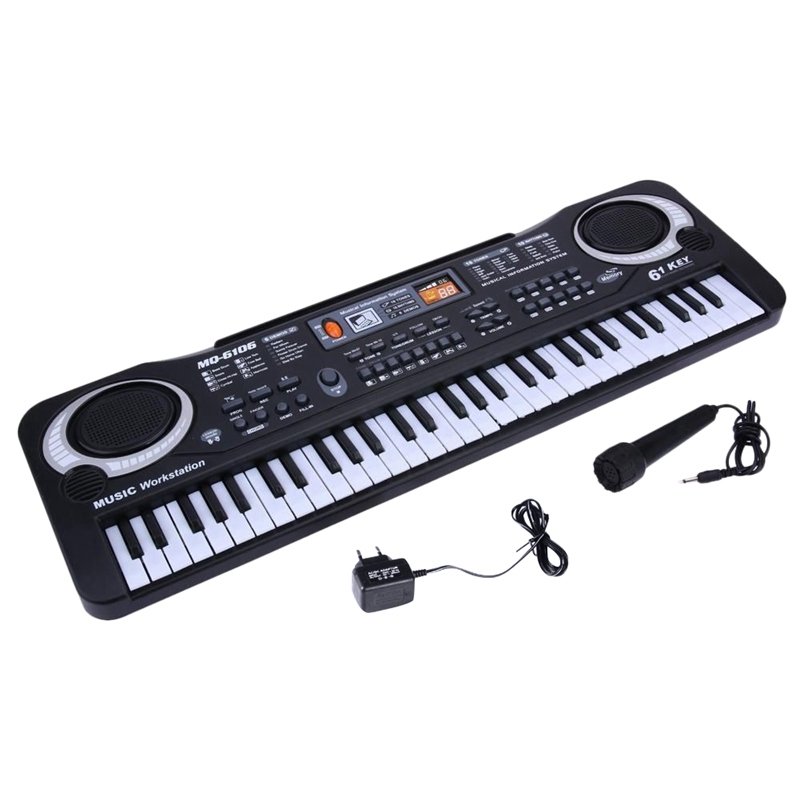 Key-Board Piano-Color Eu-Plug Music Digital Age Electric 61-Keys Yearchildren MQ Black title=