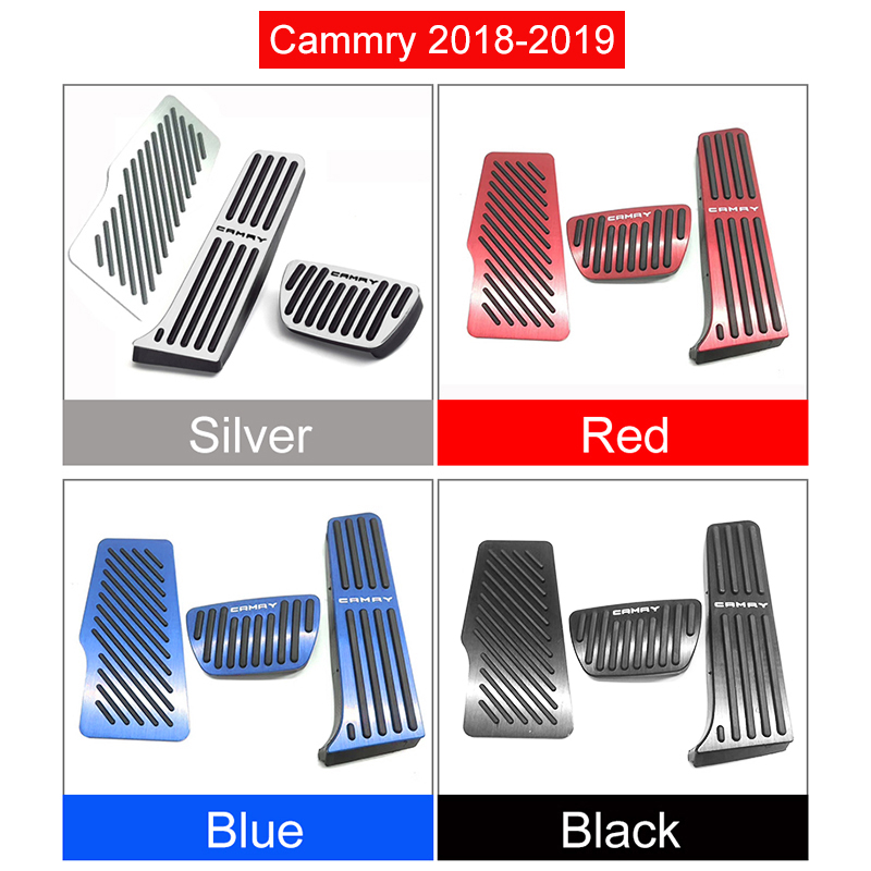 Image 5 - Aluminum Car Accelerator Gas Pedal Brake Pedal Footrest Pedal Non Slip Pads Cover Case AT For Toyota Camry 2018 2019 Accessories-in Pedals from Automobiles & Motorcycles
