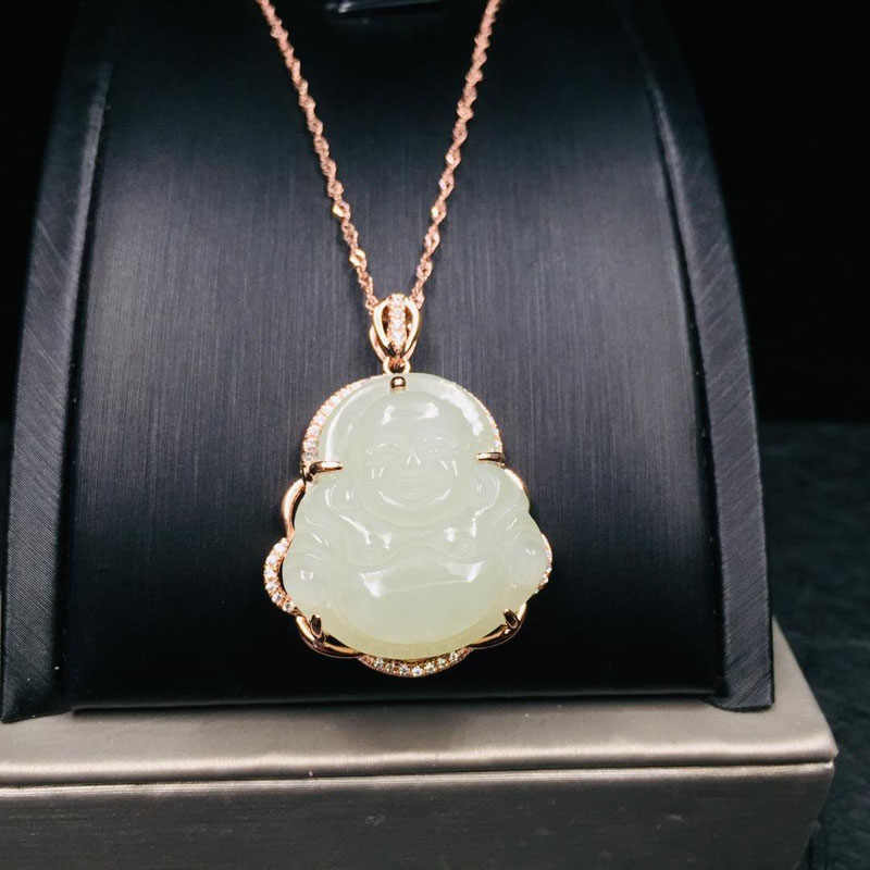 Fine Jewelry S925 Silver Inlaid Hetian Jade Pendant, White Jade Buddha Necklace, Jewelry Gifts Specially Designed for Women