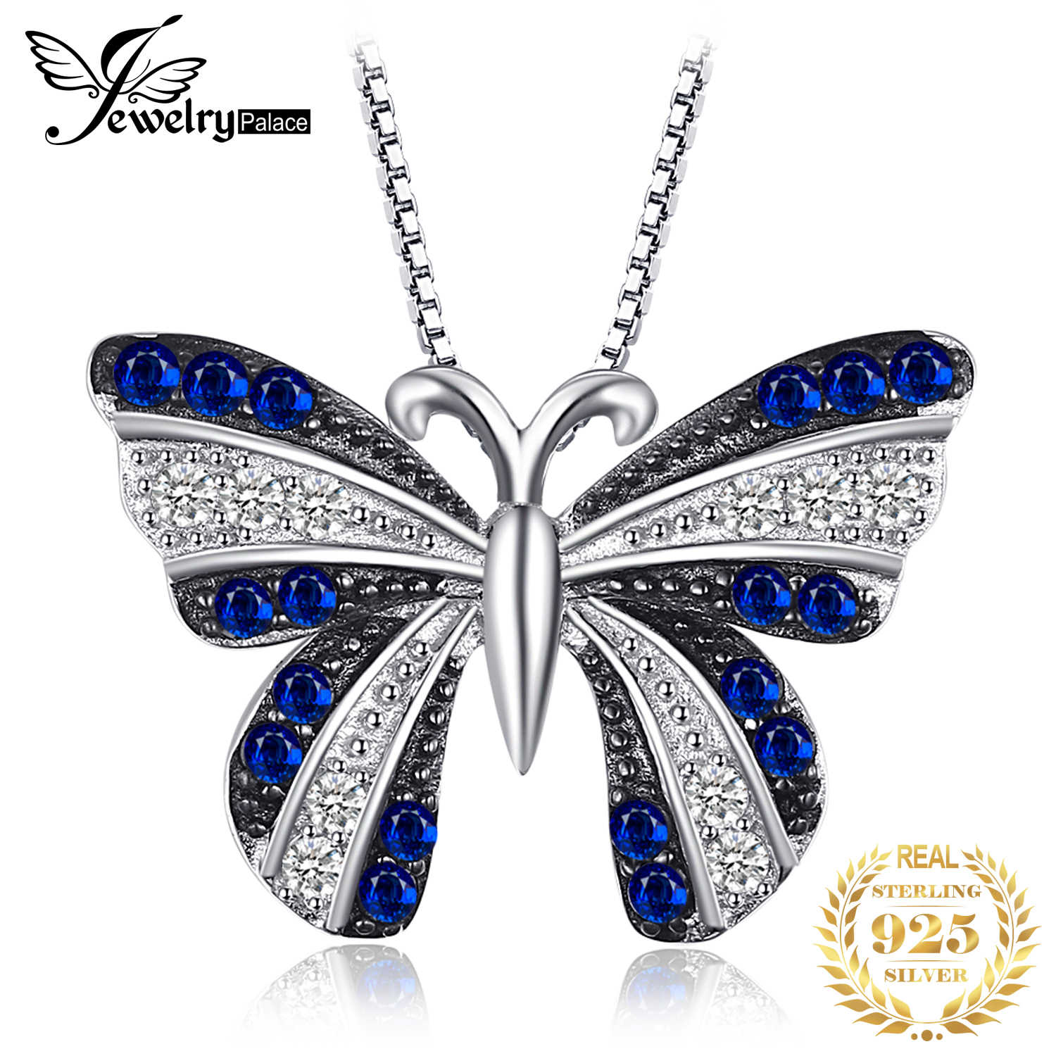 JPalace Butterfly Created Spinel Pendant Necklace 925 Sterling Silver Gemstones Choker Statement Necklace Women Without Chain