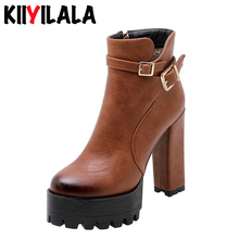 купить Kiiyilal Square High Heel Ankle Boots Wth Buckle Autumn Winter Shoes Woman Fashion Boots Zipper Womens Boots Botines Mujer 2019 дешево