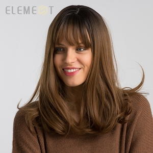 Image 3 - Element 16 Inch Synthetic Wig With Bangs Natural Headline Ombre Brown Color Fashion Cosplay Party Replacement Wigs for Women