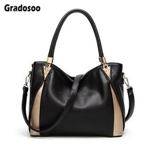 Gradosoo Leather Women Handbags Panelled Shoulder Bags For Large Tote Bag Ladies Messenger Female Shopping HMB629