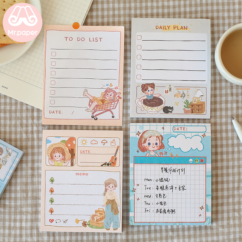 Mr.paper 6 Designs 50pcs/pack Girlish Style To Do List Week Plan Memo Pad Kawaii Stationery Notes Portable Notepad Study Supply