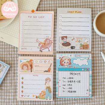 Mr.paper 6 Designs 50pcs/pack Girlish Style To Do List Week Plan Memo Pad Kawaii Stationery Notes Portable Notepad Study Supply toto schmugge soccer the 6 week plan