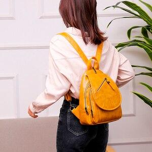 Image 5 - 2020 נשים עור מעצב יוקרה באיכות גבוהה תרמילי Bagpack גבירותיי Sac Dos נשי חבילה חינם לנערות מוצק נסיעות