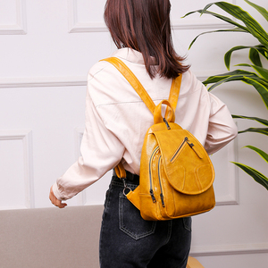 Image 5 - 2020 Women Leather Backpacks High Quality Luxury Designer Bagpack Ladies Sac A Dos Female Pack Rucksacks For Girls Solid Travel