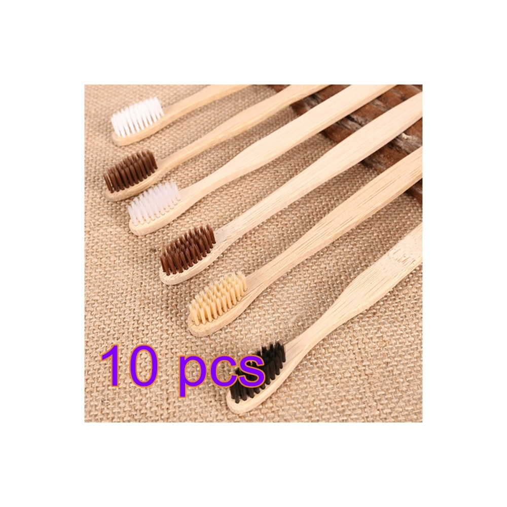 Image 4 - 100 個純粋な自然竹歯ブラシ中毛歯ブラシ歯ブラシ口腔ケアソフト毛クリーニングケアツール -    グループ上の 美容