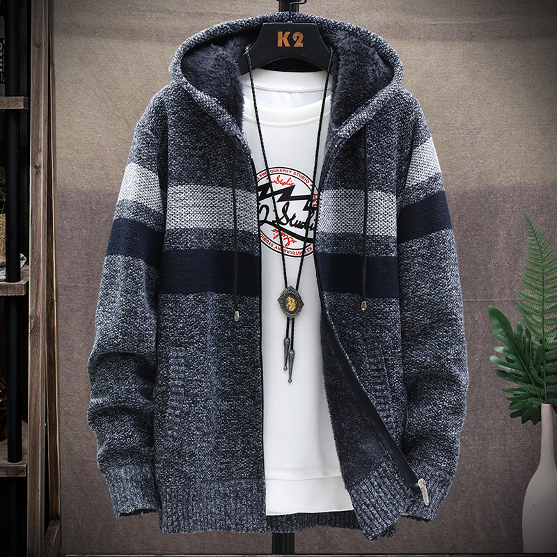 Winter Fleece Warm Sweater Men Hooded Cardigan Mens Striped Patchwork Slim Sweaters Coat Knitted Men's Christmas Jumper Clothing 2