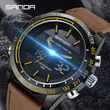 SANDA Sports Mens Watches To Luxury Brand Waterproof Leather Men Military LED Digital Quartz Watch relogio masculino 774